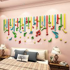3d Wall Stickers Music Vinyl Home Decor For Kids Art Nursery School Cartoon Classroom Acrylic Colorful