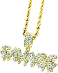 Amazon.com: Exo Jewel Iced Out Gold Diamond Savage Bubble Word ...