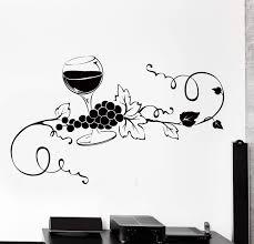 Vinyl Wall Decal Glass Of Wine Vine Grape Kitchen Bar Home Interior De Wallstickers4you