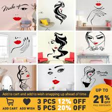 Mega Discount 69704d Beauty Salon Wall Sticker Beautiful Lady Hairdresser For Lady S Red Lips Vinyl Makeup Sticker Hair Hairdo Barbers Decal Cicig Co