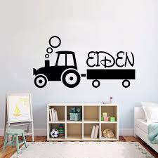 Kids Tractor Personalized Name Wall Sticker Teenager Room Decor Customized Name Vinyl Wall Decal Design Tractor Vinyl Art Ay1594 Wall Stickers Aliexpress