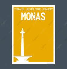 Indonesia Monumento Historico Estilo Plano Un Folleto Monas
