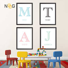 Wall Art Canvas Painting Posters Children S Room Alphabet Name Nursery Educational Abc Posters And Prints Kids Decor Pictures Painting Calligraphy Aliexpress