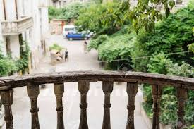 The Wooden Fence Of The Balcony Of The Old House In Tbilisi Stock Photo Picture And Royalty Free Image Image 77656750