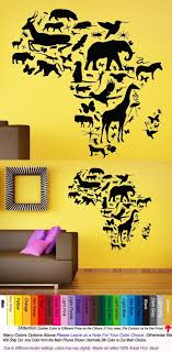African Animal Map Wall Decal Africa Map Continent Animal Wall Art Sticker Wild Animals Pvc Kids Bedroom Sticker Wall Art Map Wall Decal Wall Stickers Bedroom