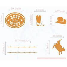 Cowboy Bull Riding Set Wall Decal Stickers Vinyl Art Bedroom Decor Rust Orange Walmart Com Walmart Com