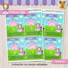 Princesa Sofia Invitacion Textos Editables