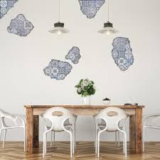 Blue Portuguese Tile Wall Decals Tile Breakaway Fabric Repositionable