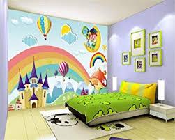 Amazon Com Custom Wallpaper Kids Room Mural Rainbow Castle Cartoon Backdrop Kids Room Mural Wallpaper For Walls Papel De Parede 3d 300x210cm Baby