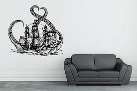 Kraken Ship Wall Decal Nautical Vinyl Sticker Octopus Mural Ocean Ebay