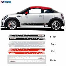 2 Pcs Car Door Side Stripes Skirt Sticker Decal For Mini Cooper R56 F56 F55 R50 R53 R58 Coupe R57 R59 Roadster Jcw Accessories Car Stickers Aliexpress