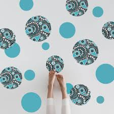 Large Turquoise Black And White Paisley Dot Wall Decals Matte Fabric