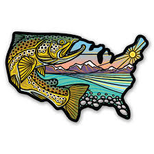 Usa Trout Sticker Merica Clothing Co