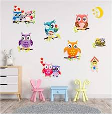 Amazon Com Owl Wall Decal Stickers Spectacular 3d Wall Decor Set Of 9 Easy To Stick Removable Wall Decals For Kids Teens Bedrooms Boys Girls Rooms Peel And Stick Kitchen Dining