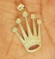 10k yellow gold crown pendant large 3 8