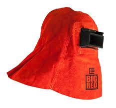 big red welding helmet hood for