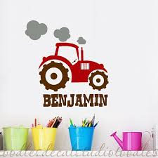 Tractor Name Personalized Nursery Kids Vinyl Wall Decal Sticker Toddler Boy Room Decor Farm Wall Decals Nursery Mural