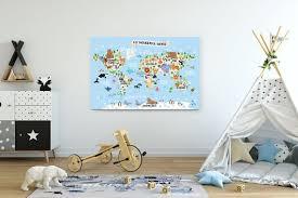 Nursery World Map Canvas Print Kid Room Decor Animal Map World Etsy