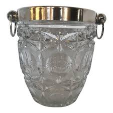 silver plate and crystal ice bucket