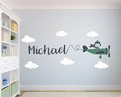 Custom Airplane Name Wall Decal Nursery Art Decor On Sale Baby Room Decor Kids Room Design Diy Baby Room Decor