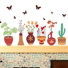 Buy Potted Flower Pots Wall Stickers Den Living Room Bedroom Baseboard Moldings Waistline Stickers Wall Painting Decorative Paper Decorative Stickers In Cheap Price On Alibaba Com