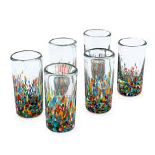 handblown multicolor shot glasses set