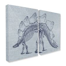 The Kids Room By Stupell Kids Dinosaur Bones Animal Blue Design 2pc Canvas Wall Art Set By Daphne Polselli Walmart Com Walmart Com