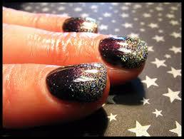 plum gel mani with glitter fade nail