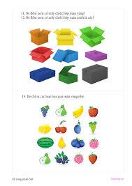 Bé 3-4 tuổi] Bài tập xác định hình khối, màu sắc – Bé tư duy