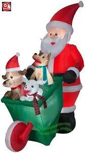 7 Airblown Inflatable Santa w/ Wheelbarrow full of Puppies