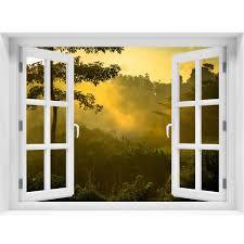 Window Wall Mural Sunrise Over Jungle Peel And Stick Fabric Illusion Royalwallskins