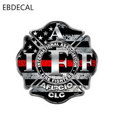 Ebdecal Reflective Firefighter Iaff Thin Red For Auto Car Bumper Window Wall Decal Sticker Decals Diy Decor Ct6623 Car Stickers Aliexpress