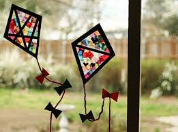 colorful stained glass kites window