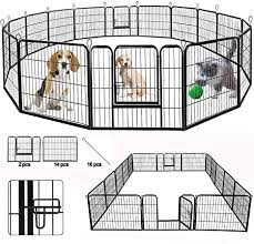 Amazon Com Suncoo Dog Pen Heavy Duty Folding Large Metal Dog Fence Cat Puppy Pet Exercise Playpen Indoor Outdoor 16 Panels 24 In Anti Rust Pet Crate Cage Barrier Kennels 16 Panels Black