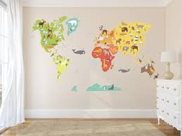 Nursery Animal World Map Decal World Map Wildlife Nursery Room Decor Kids Room Decals Educational Wall Decals Home Decor Decal Sold By Decal Art 2 Life On Storenvy