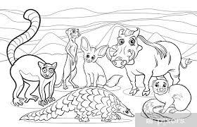 Fotobehang Afrikaanse Dieren Cartoon Kleurplaat Pixers We