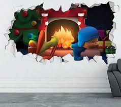 Amazon Com Pocoyo Christmas Fire Wall Decal Sticker Kids Wall Decal Decor Art 3d Vinyl Wall Decal Gs285 Medium Wide 30 X 16 Height Home Kitchen