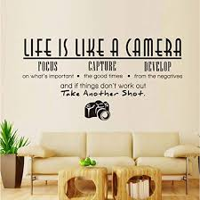 Amazon Com Hwhz 59x23 Cm Life Is Like A Camera Wall Stickers Pvc Removable Wall Decal Waterproof Diy Home Decor Self Adhesive Wallpaper For Living Room Home Kitchen