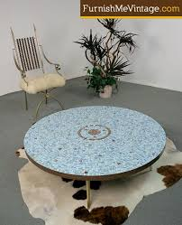 huge retro mosaic tile top coffee table