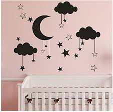 Amazon Com Wociaosmd Wall Decals Diy Large Moon Star Wall Decals Children S Room Home Decoration Art Cute Clouds Wall Decals Black Home Kitchen