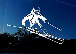 Amazon Com Skier Decal Sticker Large 8 6 X 5 6 Inches I Love Alpine Downhill Snow Skiing For Car Window Truck Wall Laptop Arts Crafts Sewing