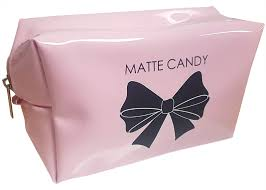 matte candy cosmetic bag pink black bow