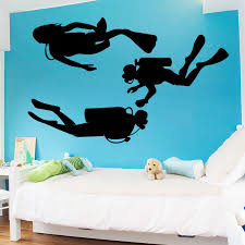 Aiyoaiyo Diving Scuba Diver Vinyl Wall Sticker High Quality Removable Home Decal Bedroom Extreme Sport Decor Posters Mural Wall Decor Decorative Postervinyl Wall Aliexpress