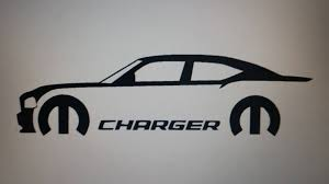 Charger With Mopar Logo Text Vinyl Sticker Decal