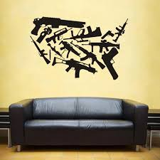 Us Weapon Map Wall Stickers Large New Design Coffee Shop Pattern Wall Decal Vinyl Poster Sticker Usa Gunmap Decals Wall Stickers Aliexpress