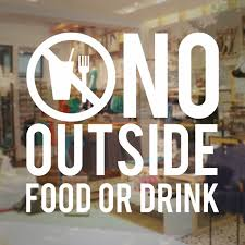 No Outside Food Or Drink Store Decal Store Decals