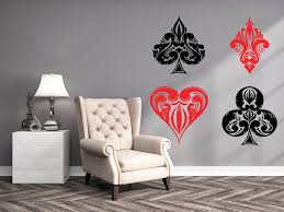 Poker Wall Decals Cards Casino Decal Colors Vinyl Stickers Etsy