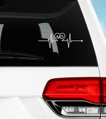 Md Medical Heartbeat Decal Vinyl Decal Window Sticker Etsy