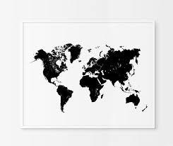 World Map Print Black And White Map Art Scandinavian Home Decor Printable Art World Map Wall Art Minimalist World Map Art World Map Wall Art Map Wall Art