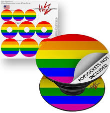 Decal Style Vinyl Skin Wrap 3 Pack For Popsockets Rainbow Stripes